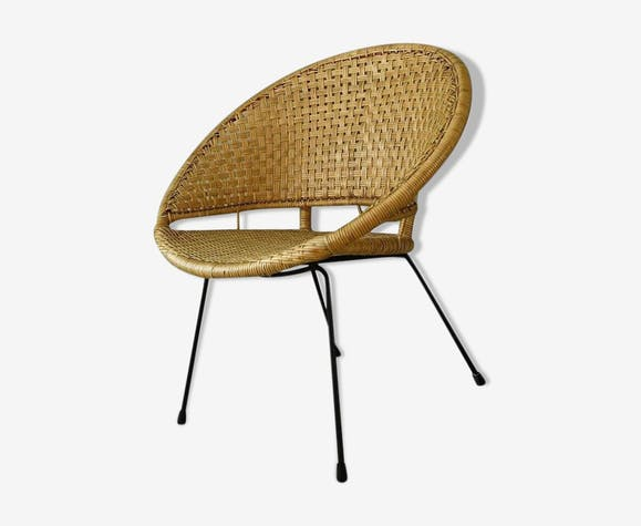 Mid-century modern rattan hoop chair