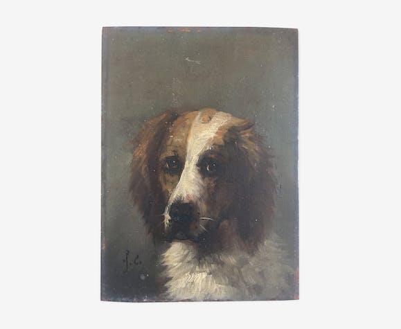 """Portrait """"Chien"""" 19e huile sur bois"""