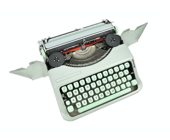 Hermes Baby green lime typewriter revised new ribbon