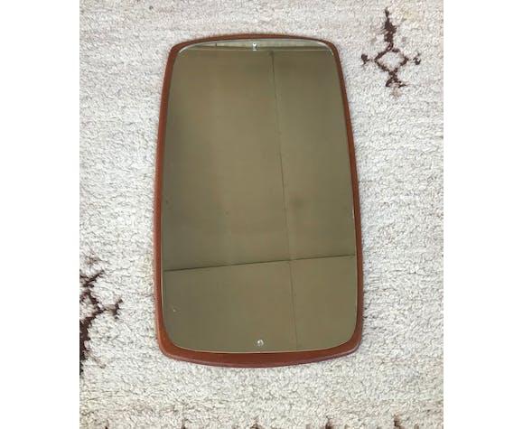 Miroir scandinave en teck 1950 1960 design vintage 39x67cm