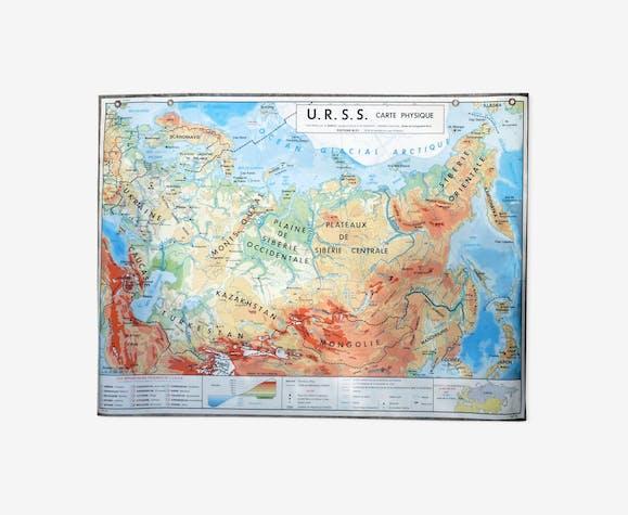 Carte Urss.Carte Scolaire Poster Vintage Urss Edition Mdi Papier