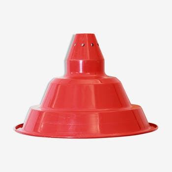 1970s Big vintage red lampshade in industrial style