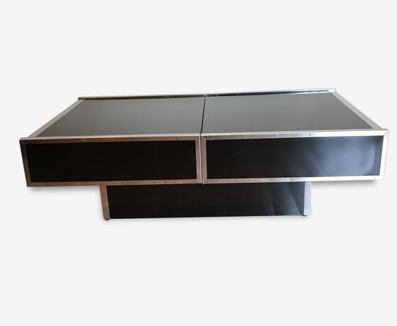 Table Basse Willy Rizzo.Table Basse Bar Willy Rizzo Glass And Crystal Black