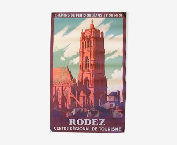 Affiche touristique originale ancienne Rodez en Aveyron