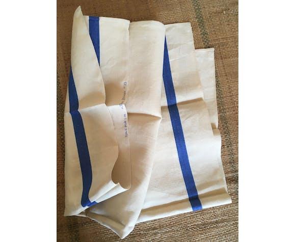 Paire de torchons de lin anciens-neufs à liteau bleu