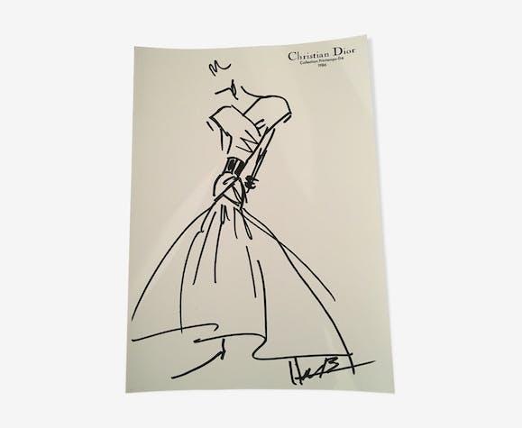 """Illustration de mode de presse """"collection printemps/été 1986"""" Christian Dior"""