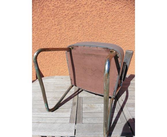 Chaise de bureau 1960 skaï gris