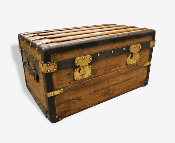 Ancienne malle coffre bois cuir et laiton - bois (Matériau ...