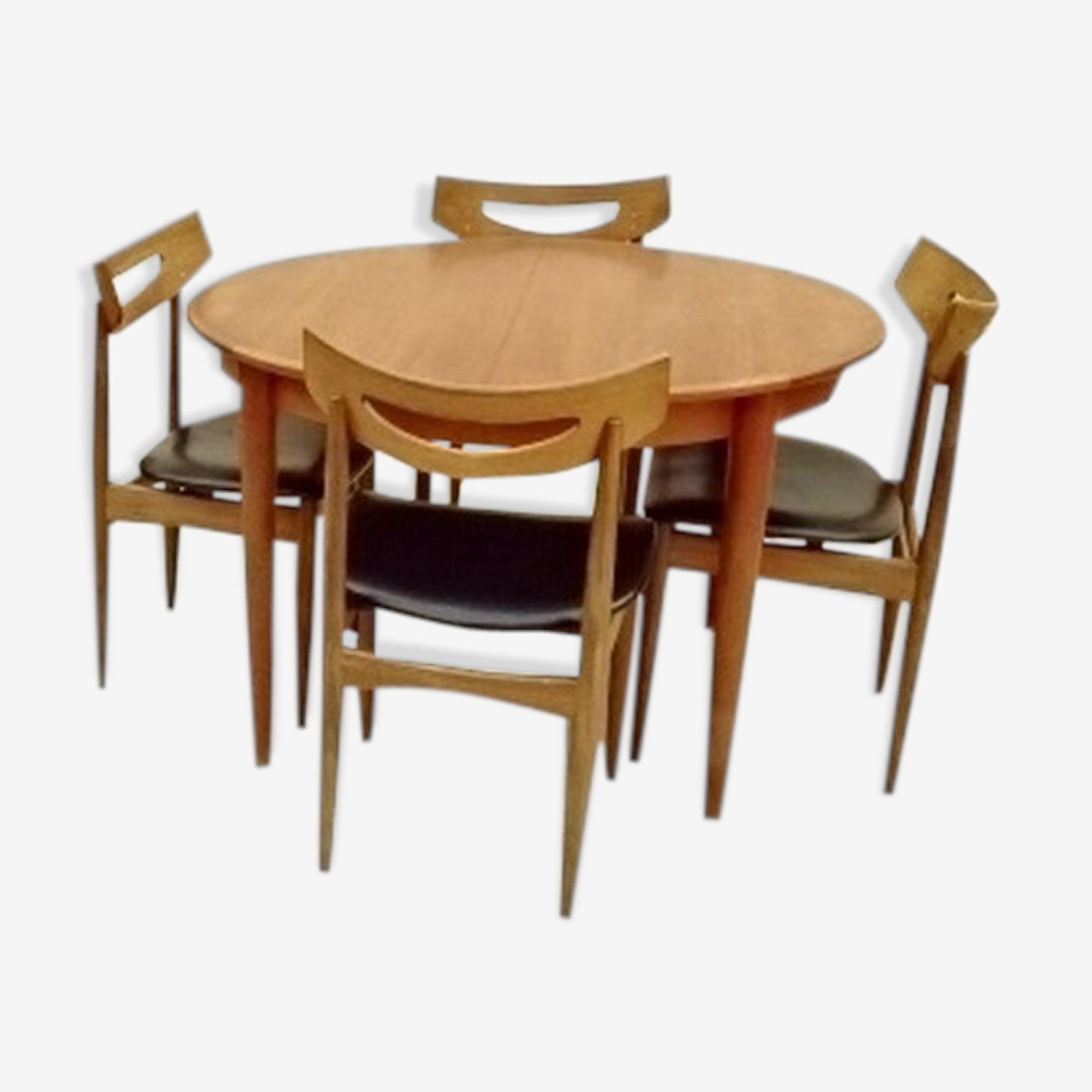 Salle à manger Samcom table et chaises scandinave danois teck 1960