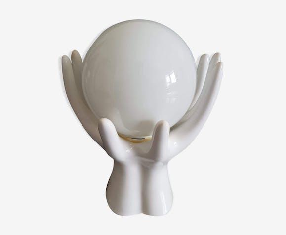 Lampe mains vintage céramique blanche avec globe opaline