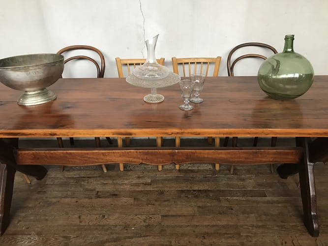Table de ferme 2,5 m en pins vintage 1950