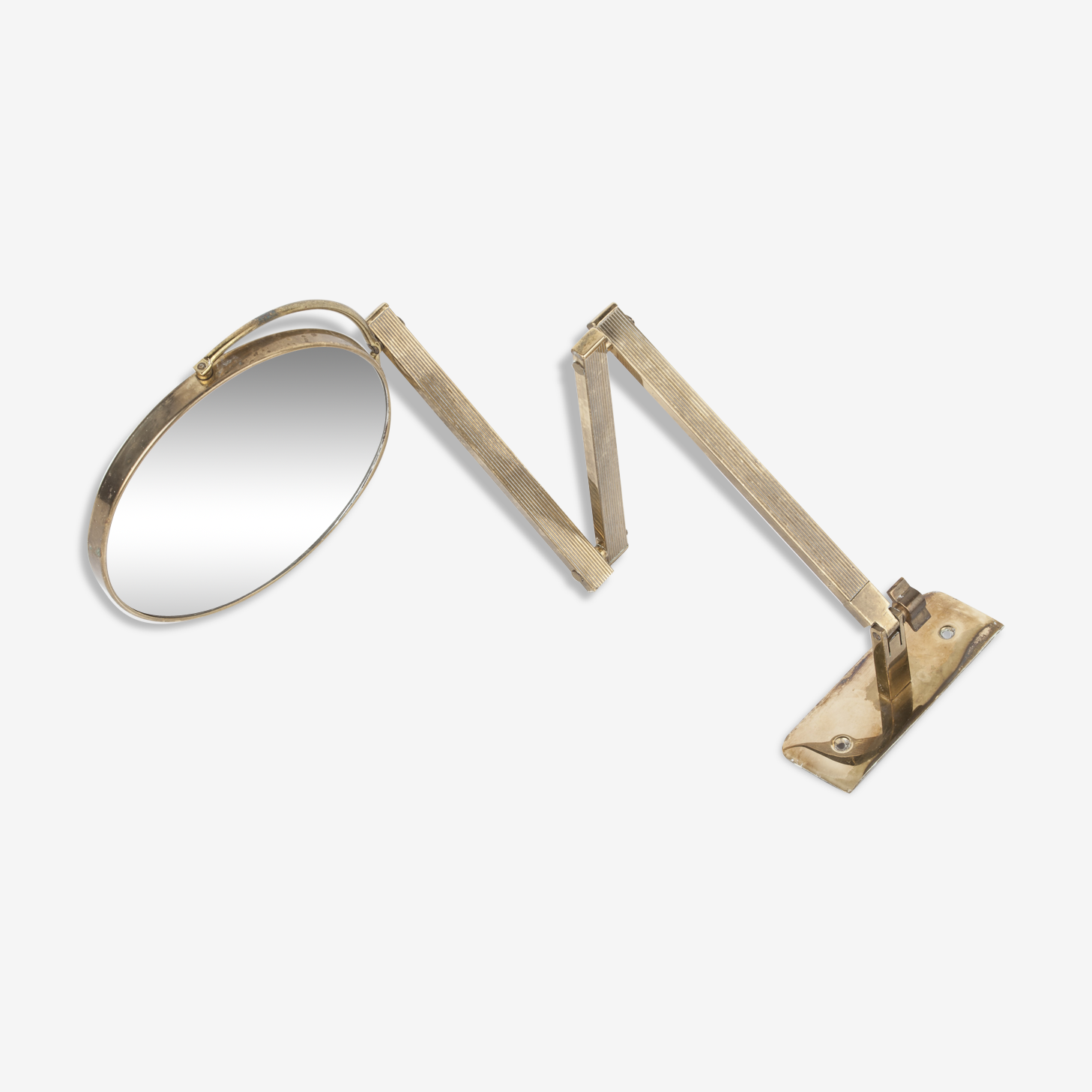 Pivotant extensible wall mirror brass 1960, double-sided  17x17cm