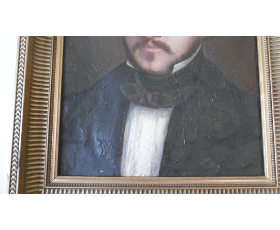 Portrait d'ancetre, huile sur toile XIXeme