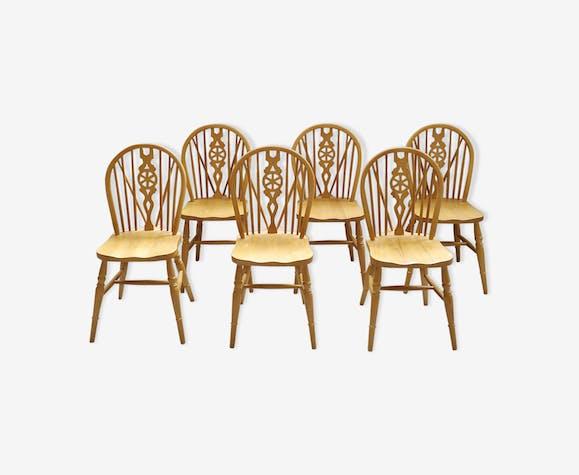 Set de 6 chaises Windsor Wheelback en hêtre massif vers 1980