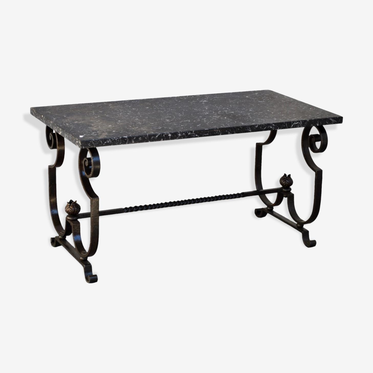 Table Basse En Fer Forge Et Marbre Style 1940 Fer Noir Vintage