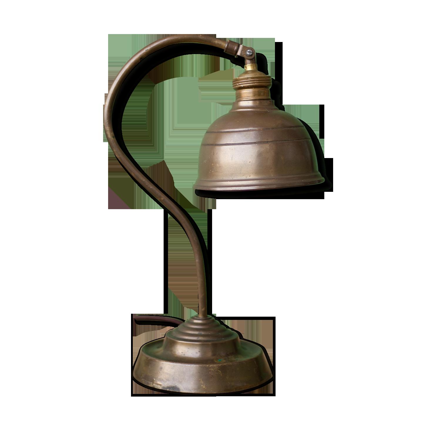 Lampe vintage de bureau laiton marron industriel qpekvms