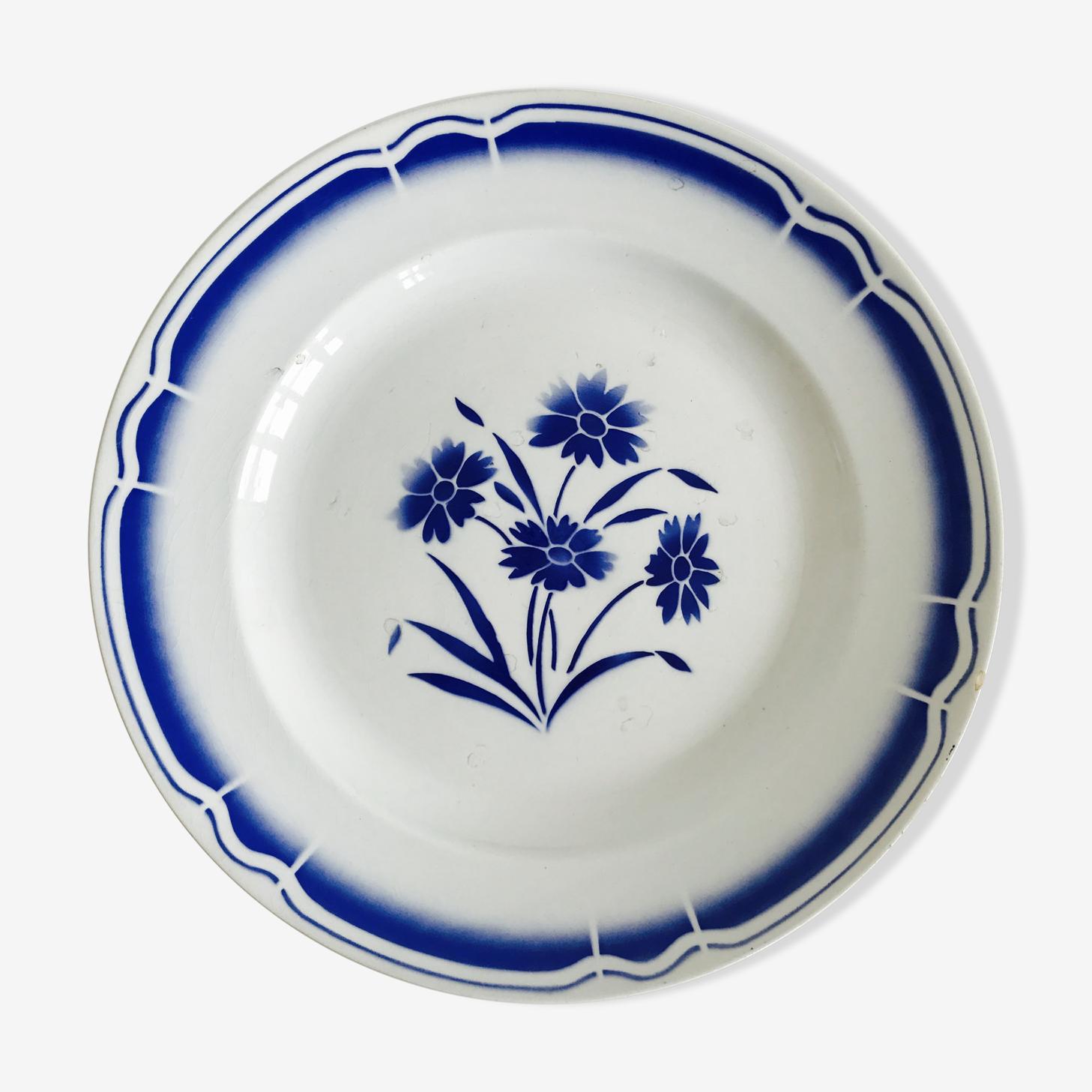 Plat Badonviller décor fleur bleu