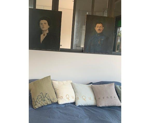 Paire de portraits