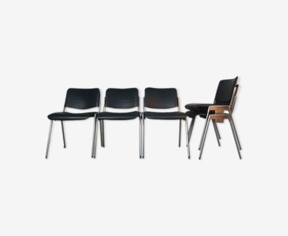 Set 5 chaises empilables Mauser en aluminium et cuir, vintage 1960