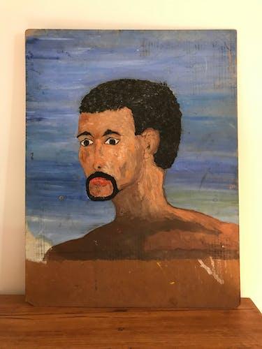 Portrait à l huile vintage