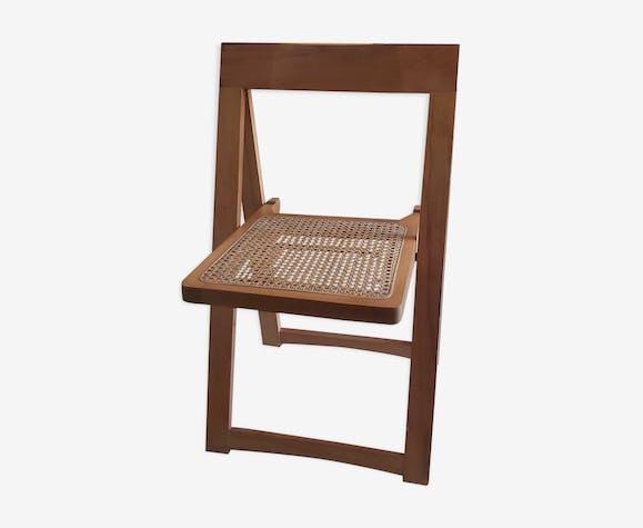 Chaise pliante en cannage Aldo Jacober vintage