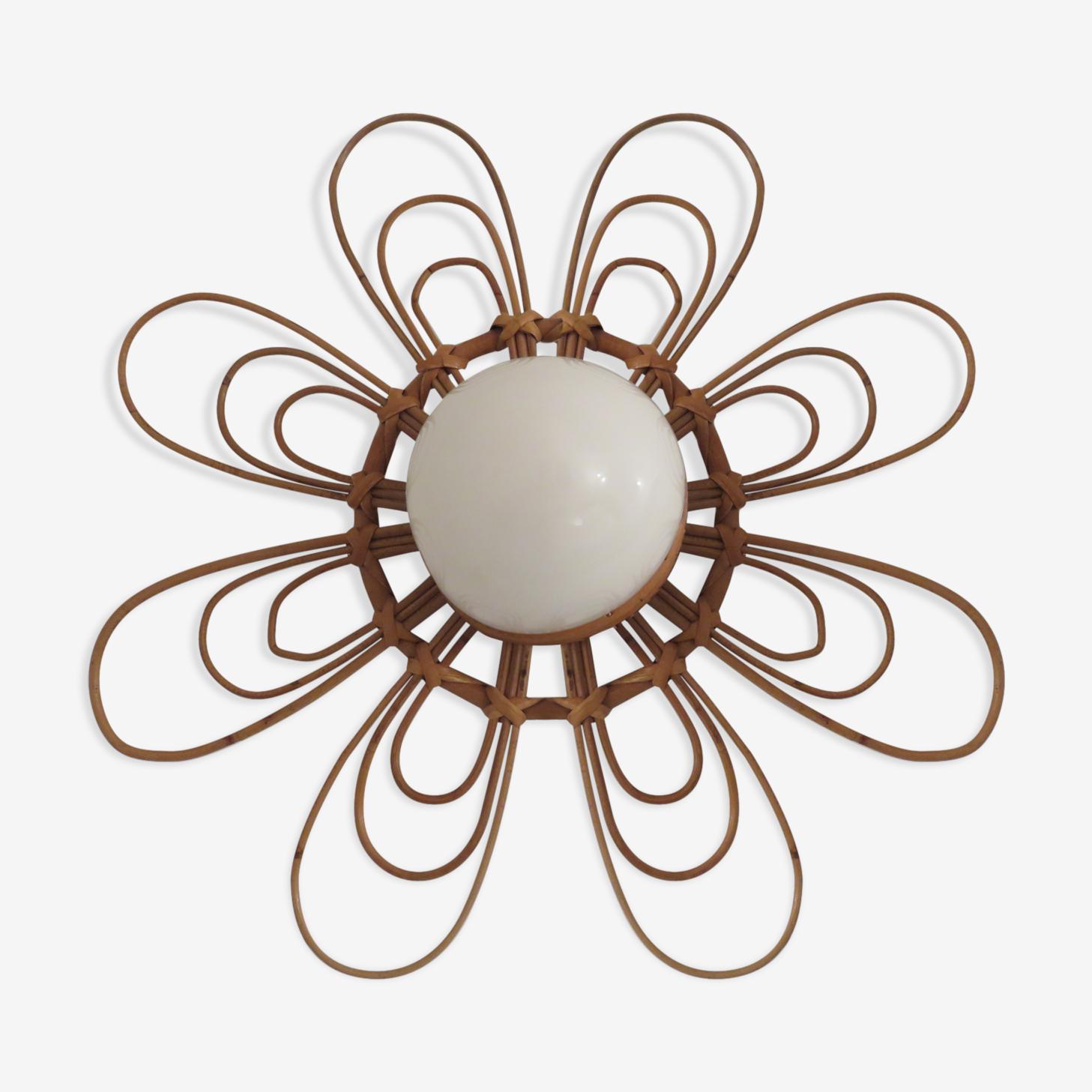 """Applique """" fleur """" en rotin années 60-70"""
