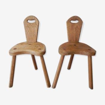Ensemble de 2 chaises anciennes en bois