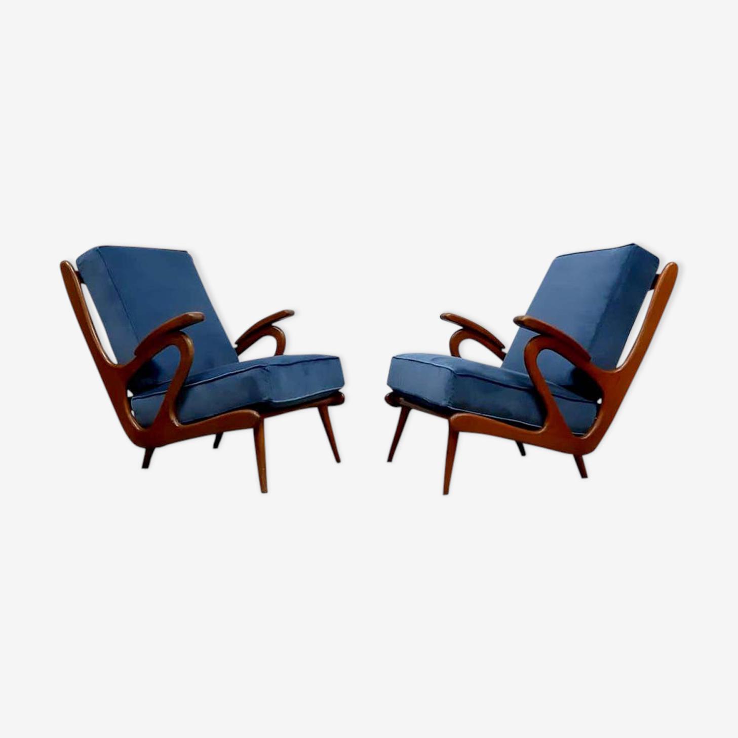 Ensemble de 2 fauteuils style années 50 des Pays-Bas