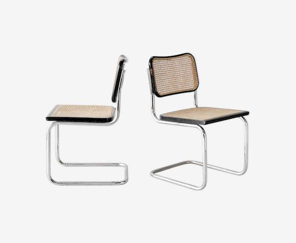 Paire de chaises cesca B32 noires par Marcel Breuer