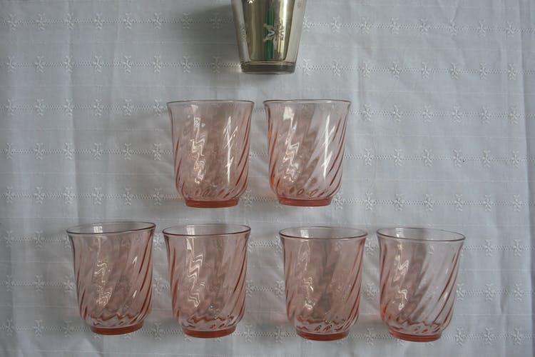 13 powder pink pieces, 4 serving dishes, 6 glasses, 3 ravines