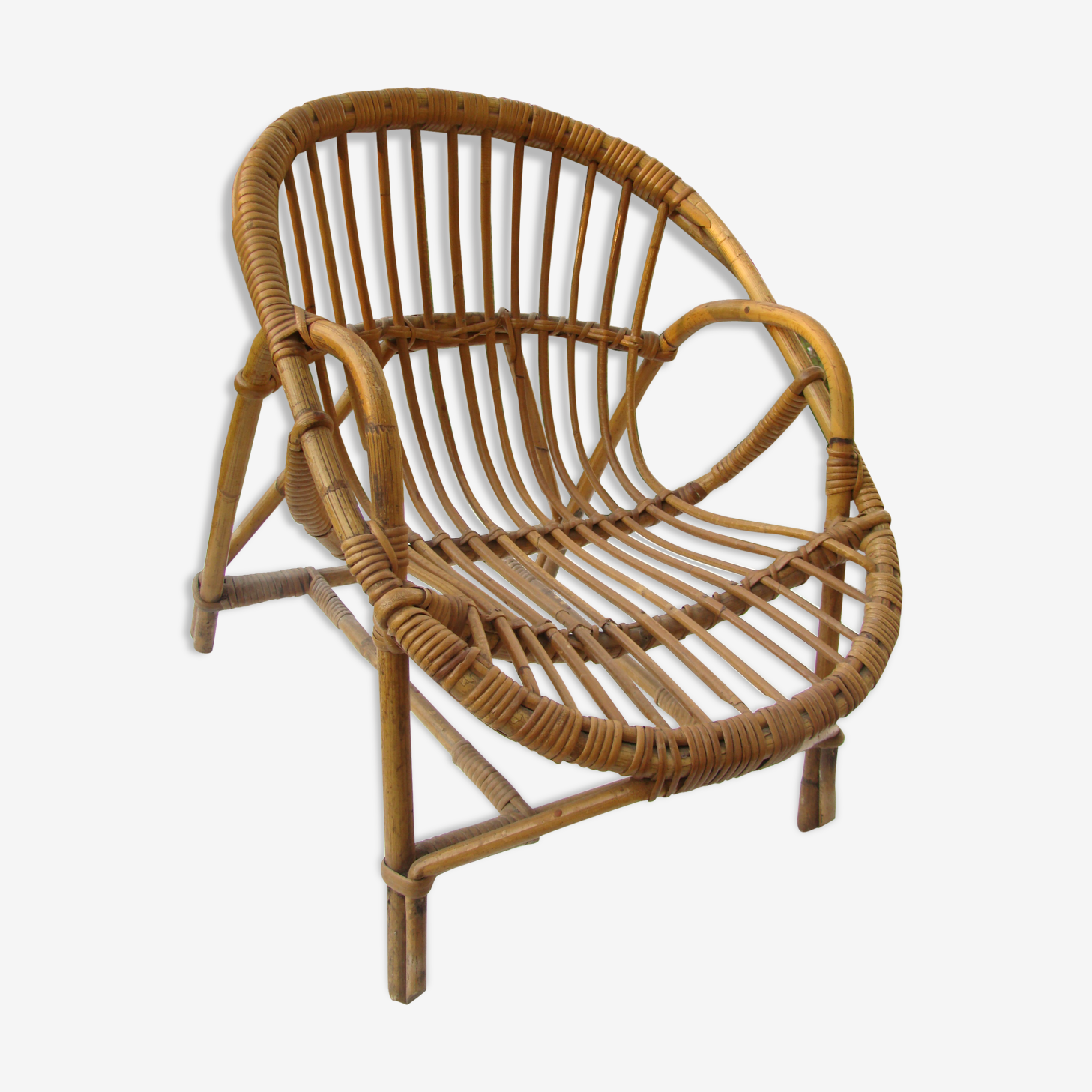 Child form shell vintage wicker armchair
