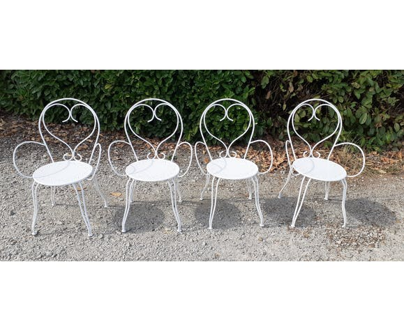 Salon de jardin en fer forgé blanc ancien table et 4 fauteuils