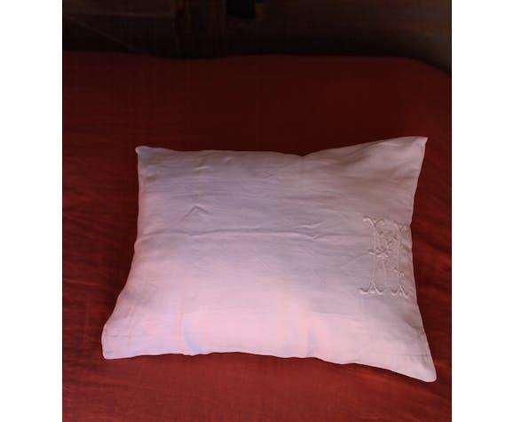 Old white linen cushion monogram