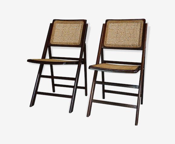 design de en Paire bois chaises pliantes des et années 60 XZOkiTPu