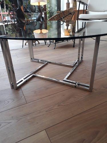 Table basse chrome et verre fumé