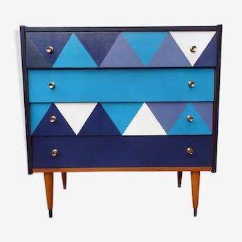 Commode vintage bleue années 50 revisitée