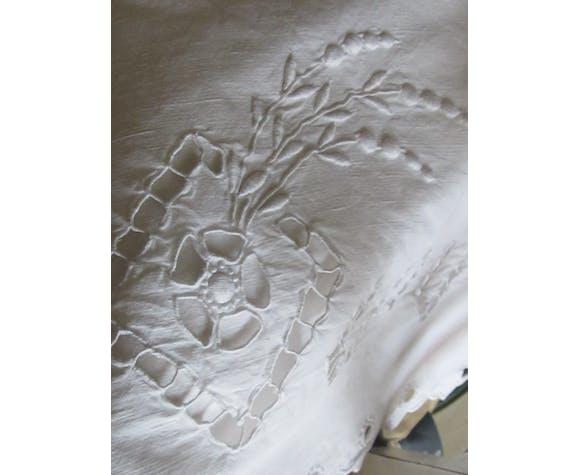 Drap ancien coton broderie Richelieu blanc monogrammes MC 200 x 315 retour 80 cm