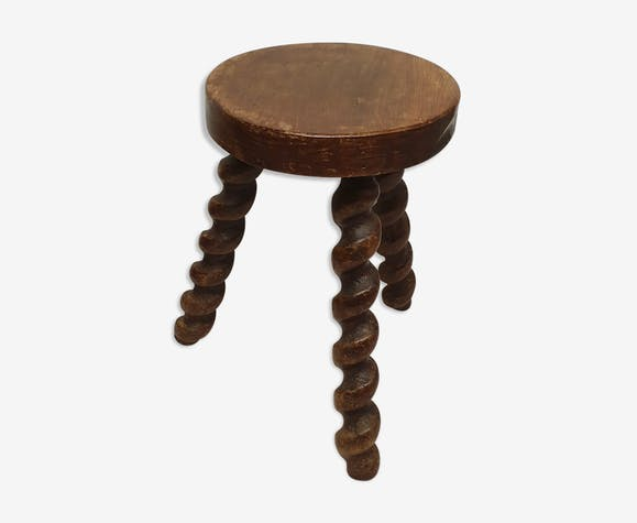 Vintage tripod stool in solid wood