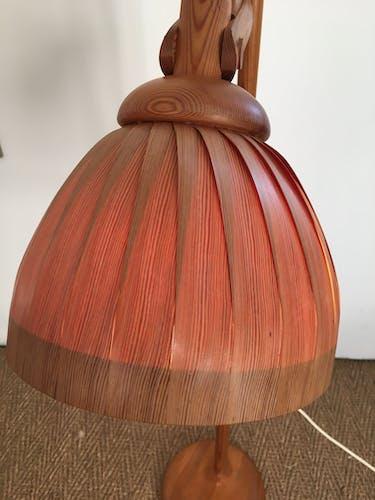 Lampadaire vintage 1960 bois monte et baisse