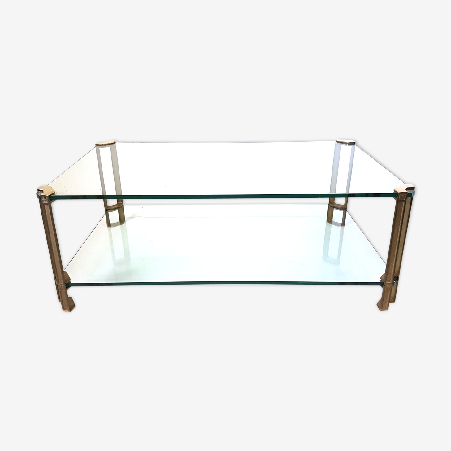 Brass and glass coffee table by Peter Ghyczy