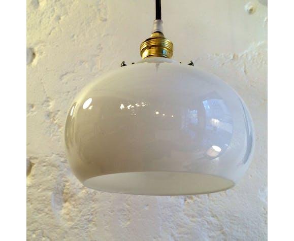 Lampe suspension luminaire abat jour opaline blanche | Selency