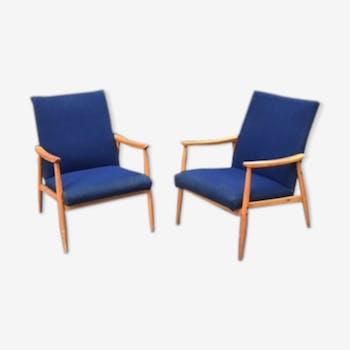 Pair of scandinavian armchairs circa 1960