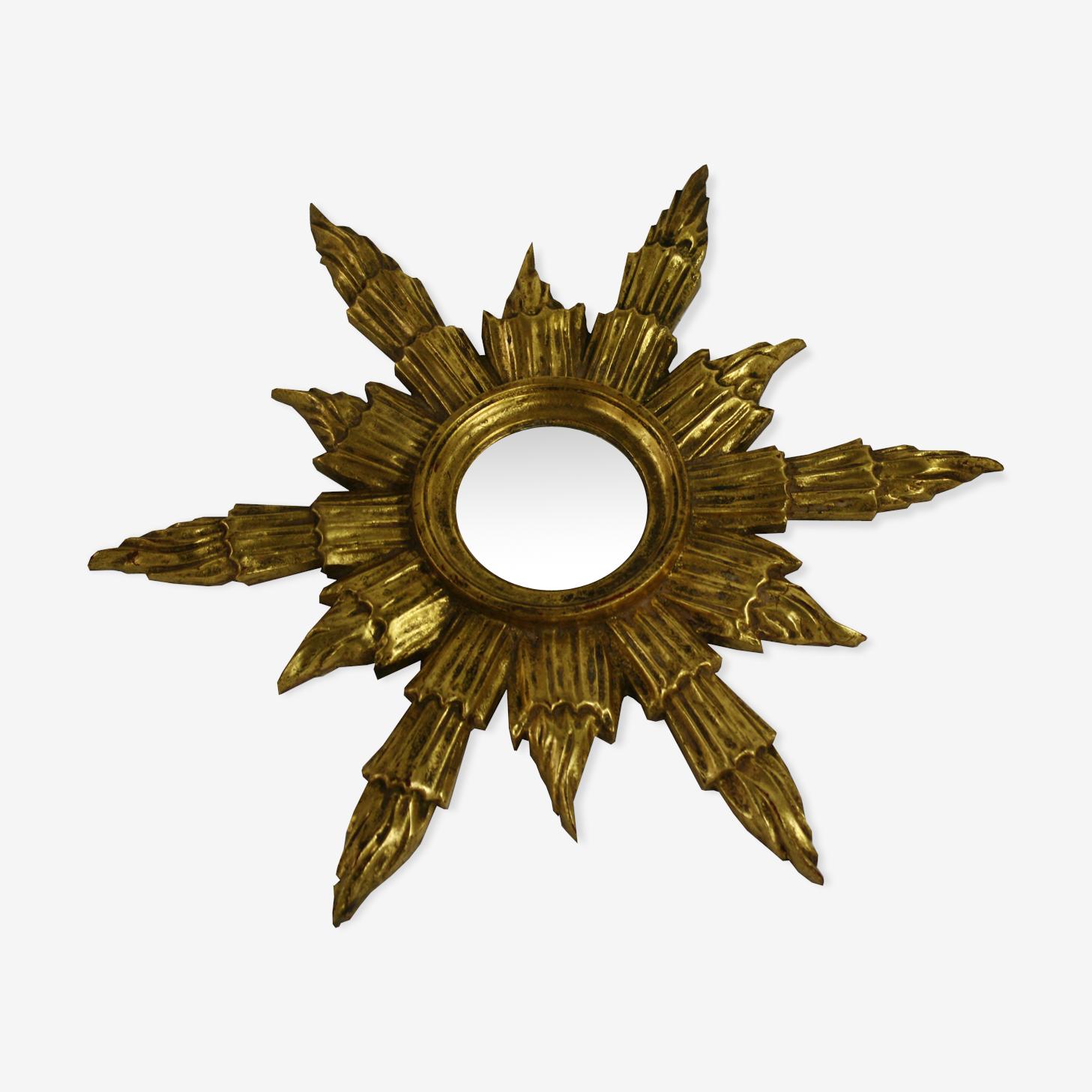 Mid century golden sunburst mirror, 1960 s