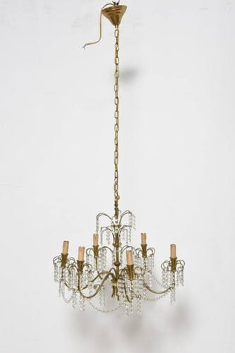 Candlestick Waterfall mid century brass and Crystal 1950 s