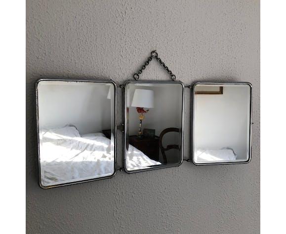 Miroir triptyque barbier cannelé vintage 1950 - 25 x 61 cm
