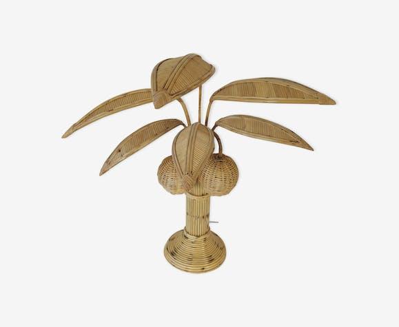 Lampe rotin palmier Mario Lopez Torres, Brésil 1970s