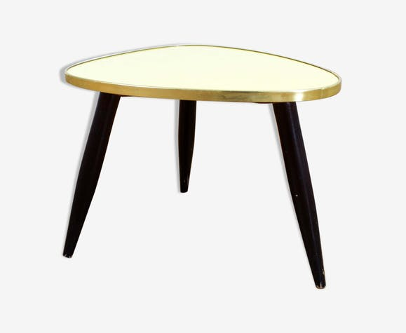 Table d'appoint guéridon vintage formica jaune