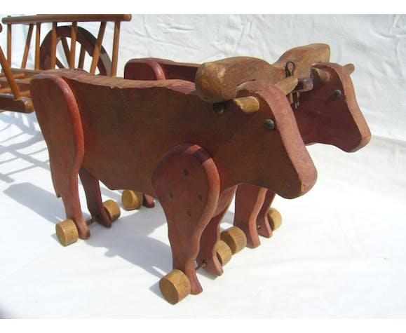 Jouet en bois char a bœufs dejou ancien