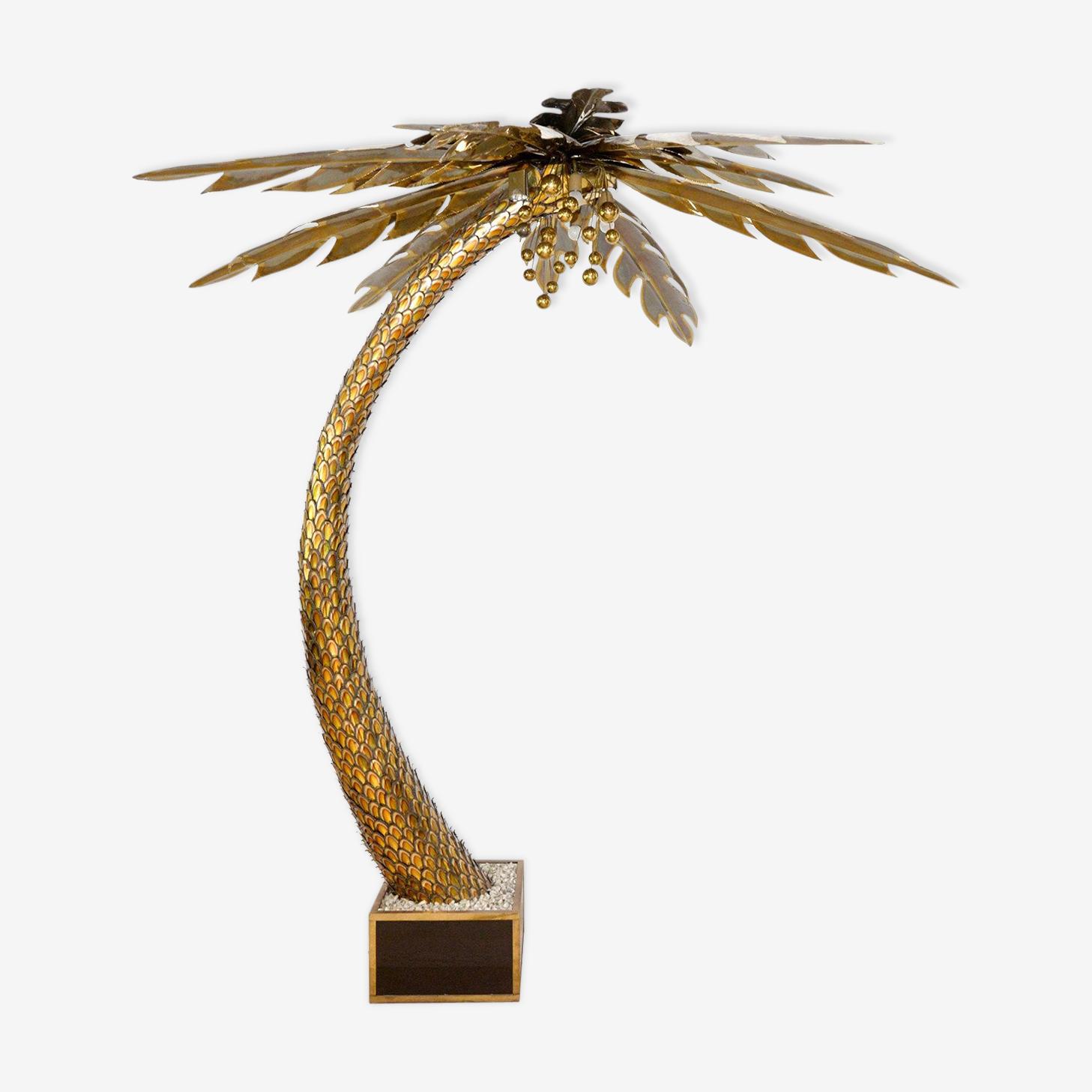 Lampadaire palmier laiton de Maison Jansen 1970