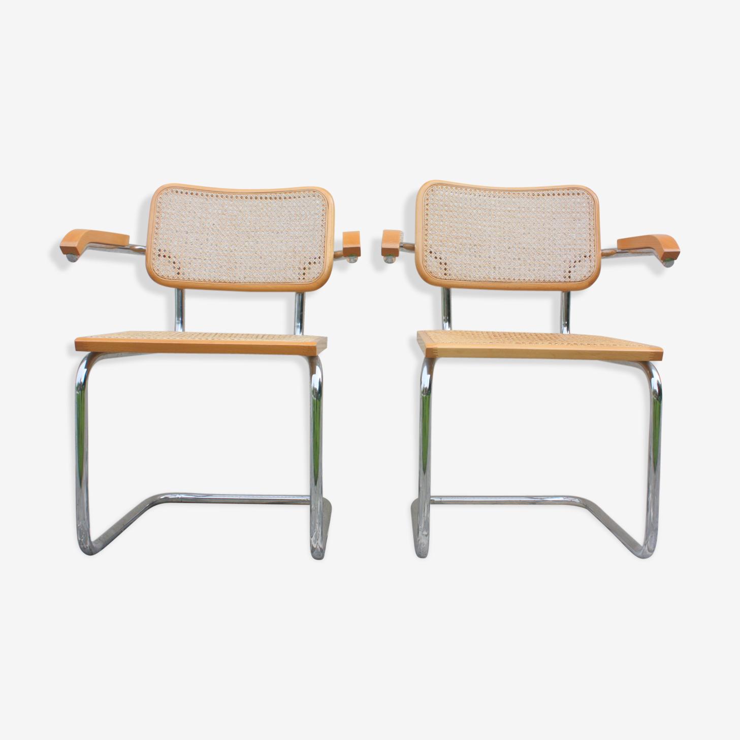 2 fauteuils B 64 Marcel Breuer made in Italy